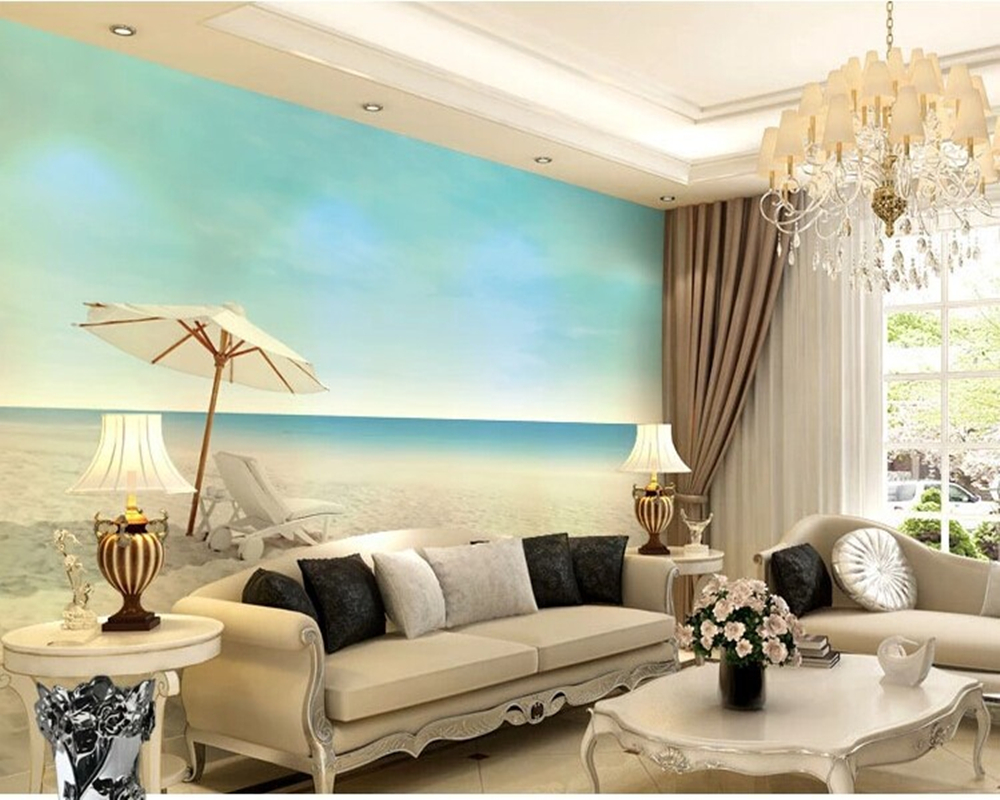 Beach natural landscape Wallcoverings murals for the living room TV bedroom background wall paper Papel de parede custom photo wallpaper new york city wall murals for the living room bedroom tv background wall waterproof papel de parede