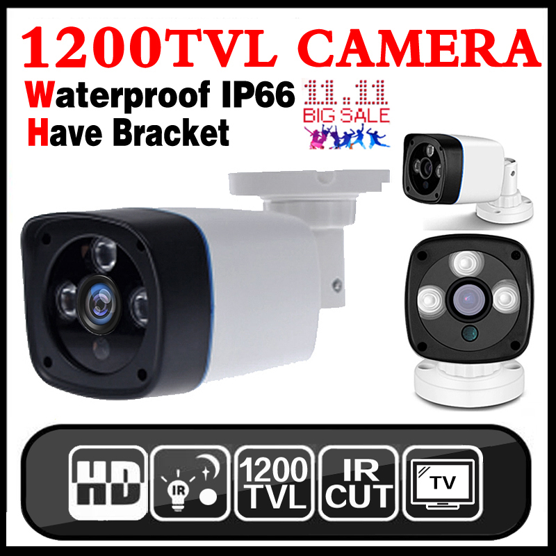 Big Sale 1/4cmos 1200TVL small Outdoor Waterproof IP66 CCTV Security Color Mini HD Camera 24led IR infrared Night Vision Bracke new micro cone 3 7mm lens hd 1 4cmos 1200tvl small color analog video cctv security mini camera surveillance metal have bracket