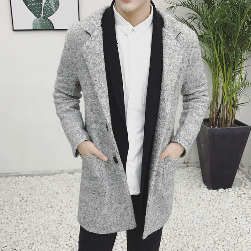 Casual-Coat Long-Jackets Overcoat Mens Business Classic Woolen Male Autumn Winter Solid