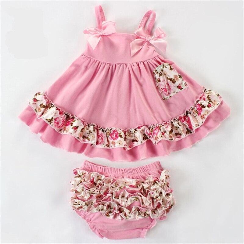 Newborn Baby Girl Clothes Cotton Clothing Set Ropa de Bebes Menina Summer T-shirt + Ruffles Pants B4