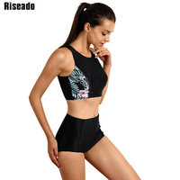Riseado Sports Swimwear Women Bikinis High Waist Swimsuit Swimming Suit Summer 2017 New Bikini Set Bathing