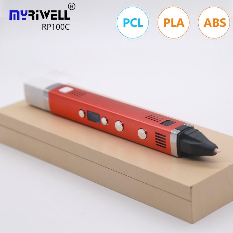 Myriwell 3 d pen 3d pen 100m pla filament, Genuine High end 3d printed pen USB charging 1.75mm abs p