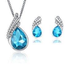 2017 New Sergi Fashion Crystal Water drop Stud Earrings Pendants Necklace jewelry sets Classic Weddi