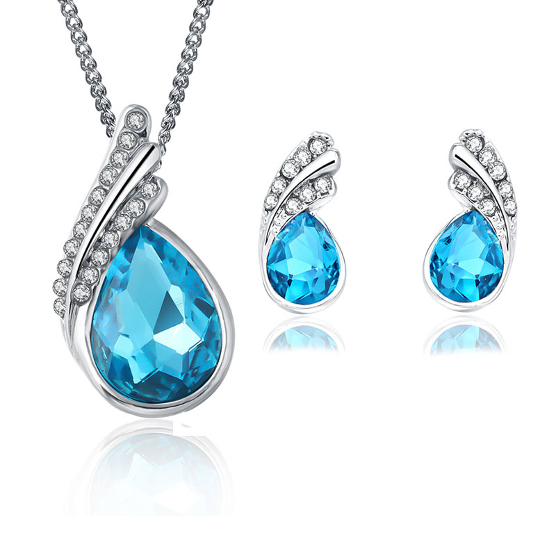 2017 New Sergi Fashion Crystal Water drop Stud Earrings Pendants Necklace jewelry sets Classic Wedding Dress Jewellery for women