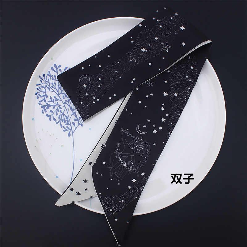 Skinny sciarpe Dodici costellazioni di stampa sciarpa di seta delle donne di lusso di disegno di marca piccola cravatta sacchetto headwear lungo accessiries nastro