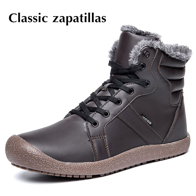 Classic zapatillas Men Winter Boots Male Snow Ankle Boots Waterproof Warm Fur Casual Boot Shoes Chaussure Homme Plus Size 36~48 mens shoes warm fur boots men casual shoes male genuine leather zapatos winter snow boots zapatillas hombre plus size 38 50