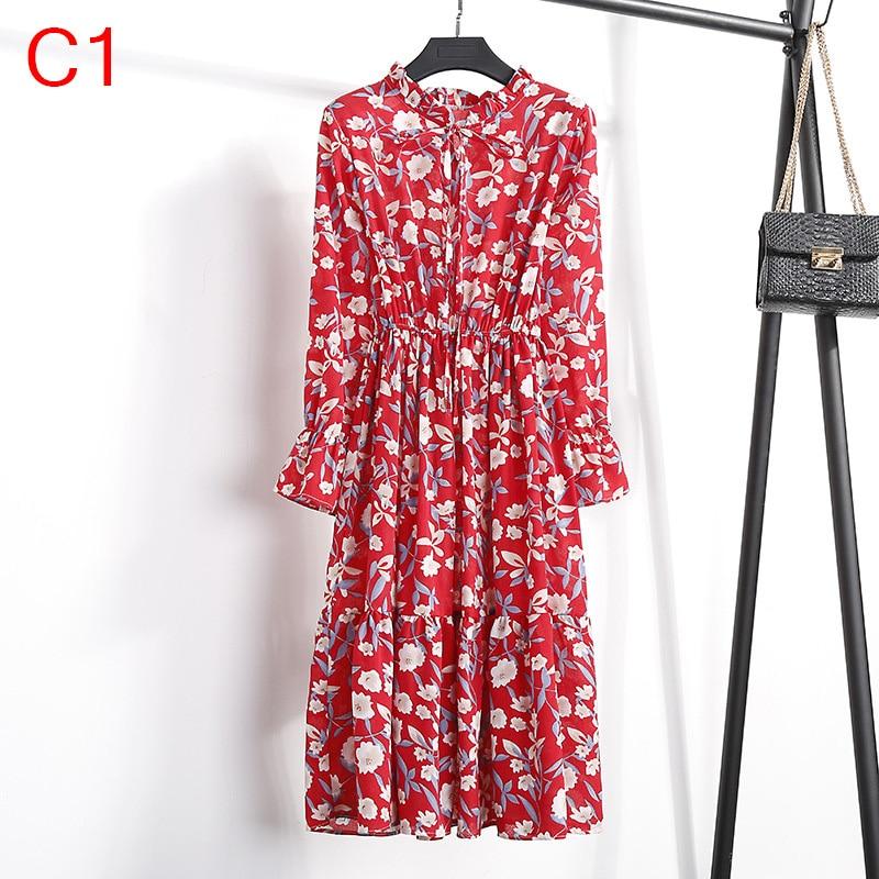 Korean Black Shirt Vestidos Office Polka Dot Vintage Autumn Dresses Women Winter Dress 19 Midi Floral Long Sleeve Dress Female 97