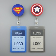 BINXUE Employees card Cover l durable ID Holders badge and lanyard hang tag Telescopic Badge Cartoon
