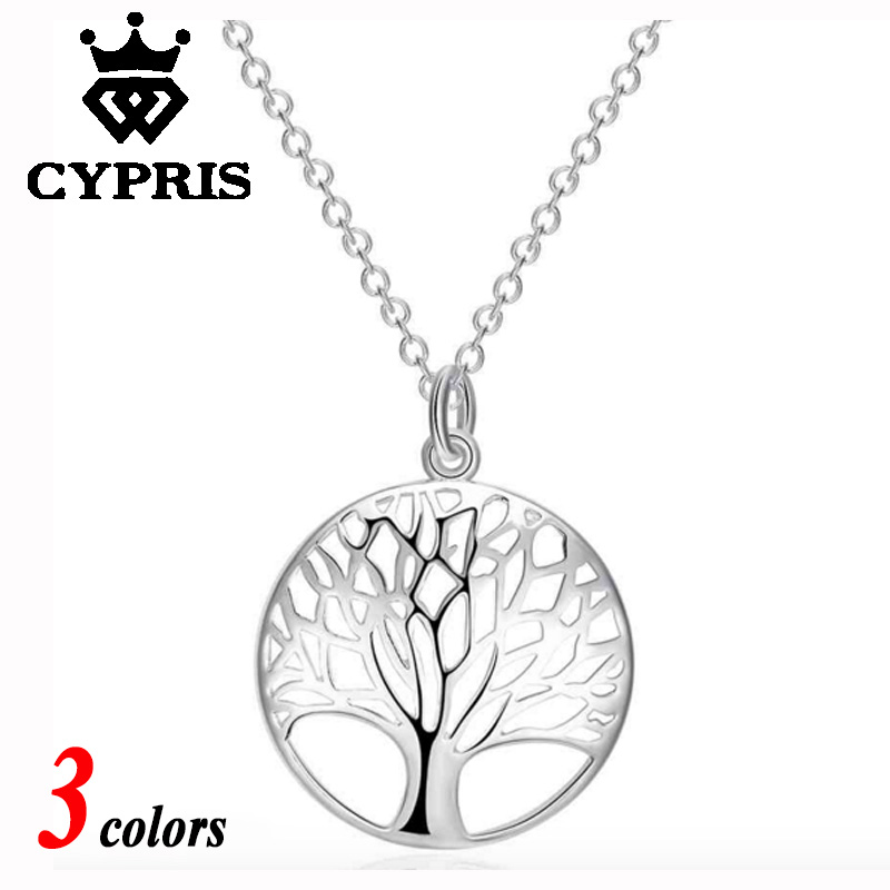 Hot 3 colors choice Rose gold yellow gold Silver Tree Of Life 20 inch Pendant Necklace totem gift girl women wedding love 925