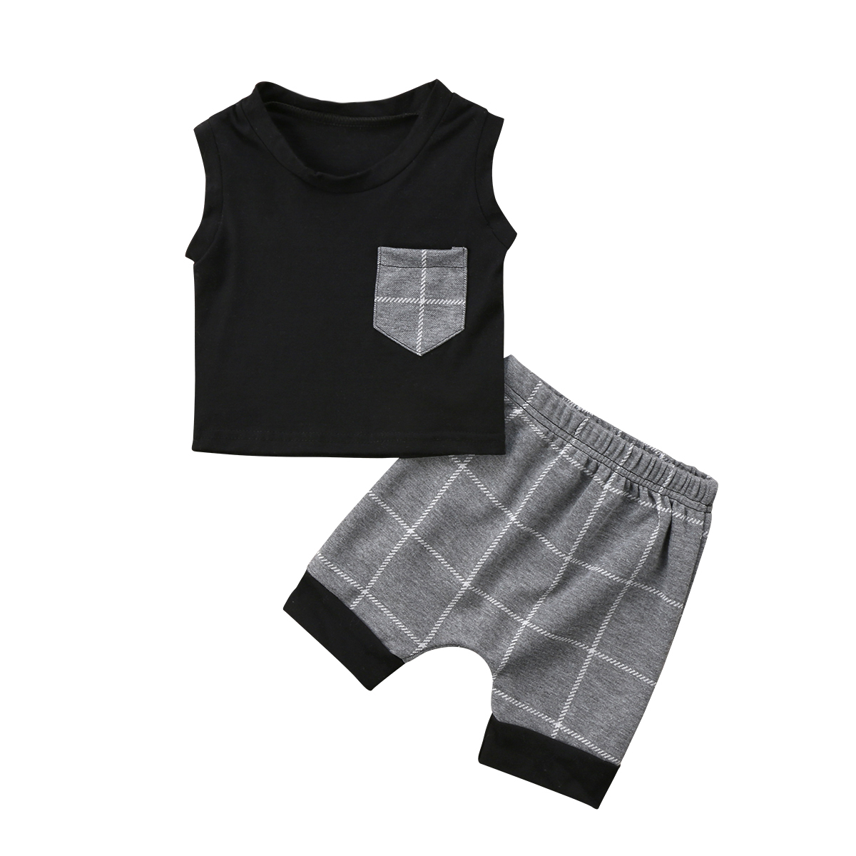 Pudcoco 2018 HOT SALE Toddler Kids Baby Boy 2PCS Sleeveless T-shirt+Plaid Pants Fashion Outfits Set 0-24M