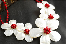 Wedding Woman Jewelry Hot Red Coral Pearl Choker Necklace Double Chain Exaggerate Handmade Pretty Flower Free Shipping