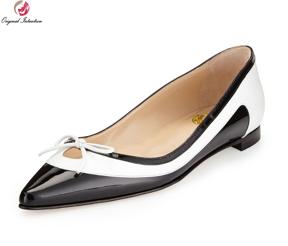 Original Intention Women Pumps Bowtie Pointed Toe Square Heels Pumps High-quality Black and White Shoes Woman US Size 4-15 comfy women pointed toe square high heels office shoes woman flock ladies pumps plus size 34 40 black grey high quality