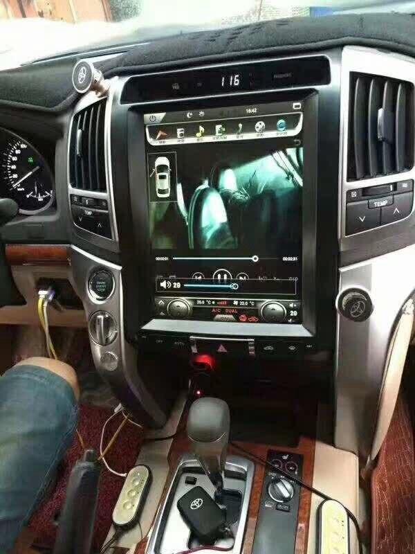 12.1 pouces Tesla Style 2 Din voiture Radio GPS Navigation Android 6.0 voiture GPS Navigation lecteur DVD pour LAND CRUISER LC200 2008-2015