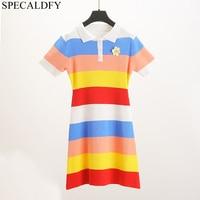 2019 Summer Fashion Women Clothes Knitwear Floral Rainbow Striped Sweater Dress Short Sleeve Mini T Shirt Dress Holiday Robe