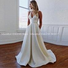 aff182c7b9 Prosty biały Satin długa suknia ślubna 2019 Boho suknie ślubne tanie kości  słoniowej Plus rozmiar panny młodej sukienki długie R..