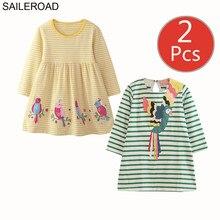 SAILEROAD 2 pcs בעלי החיים אפליקציות בנות ארוך שרוול שמלת 7 שנה בנות בגדים אלגנטי שמלת מסיבת ילדה שמלות Unicorn שמלה