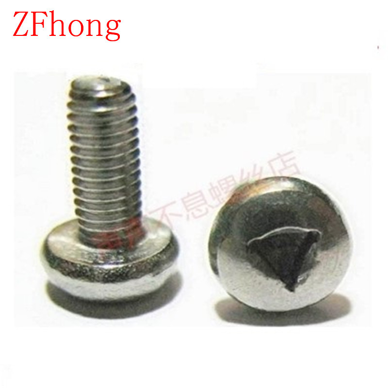 100pcs/lot M3/M4*6/8/10/12/16 Stainless Steel A2 Triangle drive Pan Head Anti-theft Screw, Pan Head triangle socket screw