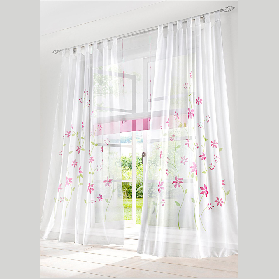 2017 Spring Daisy Floral Printed Voile Sheer Sitting Room