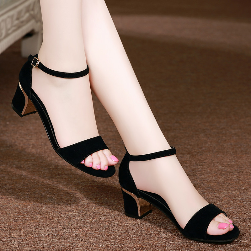 Hebilla Coreano Negro azul De Matte Blanco Mujer Abierta Grueso Punta Altos Tacones Black Verano negro Pu Con Sandalias Zapatos 2016 Cuero Mujeres PA1qxx