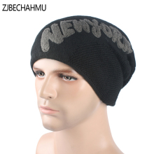 ZJBECHAHMU Casual New Solid Wool Warm Letter Skullies Beanies For Men Women Winter Hats Mask  Bonnet Baggy