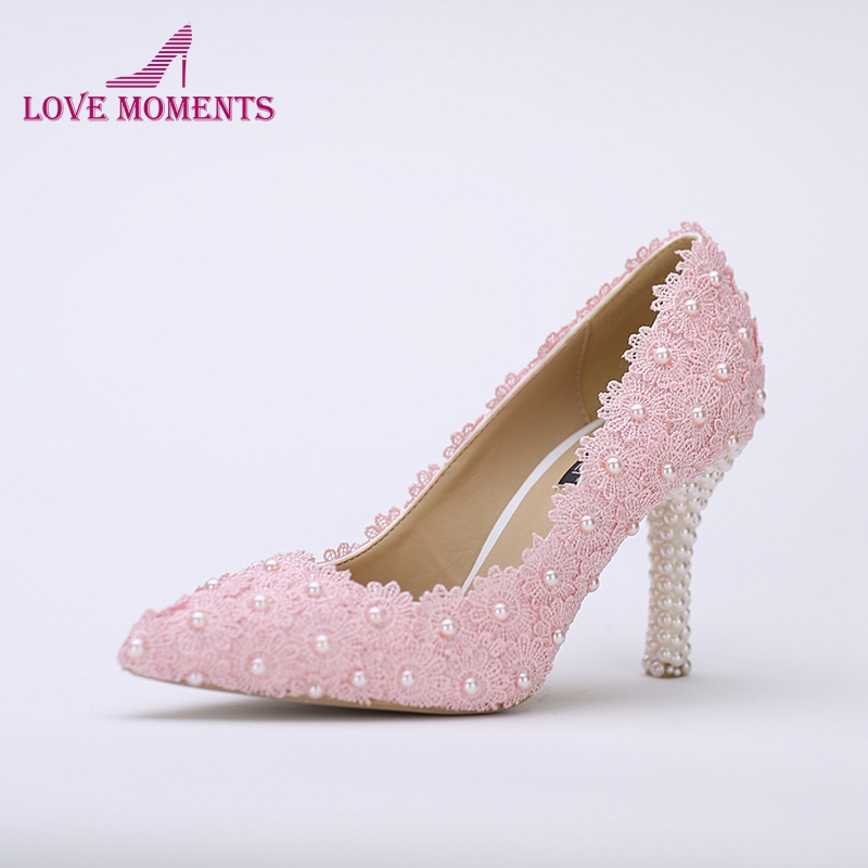 Pointed Toe Wedding Shoes Pink Lace Flower With Ivory
