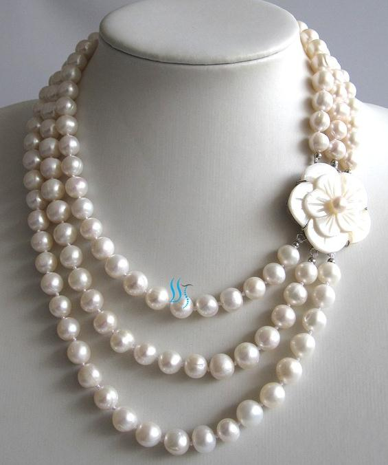 White Pearl Jewellery 17-20 inches 3 Rows AA 7-8MM 100% Natural Freshwater Pearl Necklace Shell Flower Clasp Wedding Party Lady' excellent design 6 rows flower freshwater pearl necklace pearl jewelry set white shell necklace crystal necklace christmas gifts