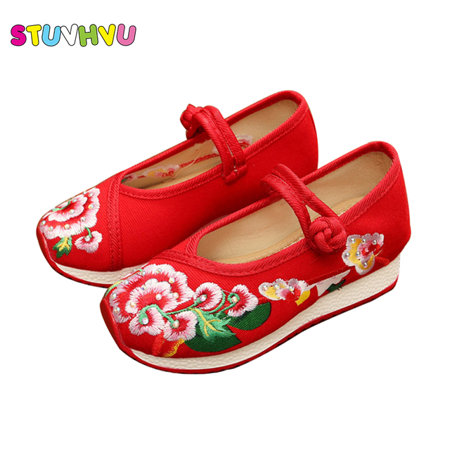 Old Beijing Embroidered Girls Shoes High Chinese Style Casual Cloth Shoes  Traditional Children s Dancing baby Clothing Shoes Kid