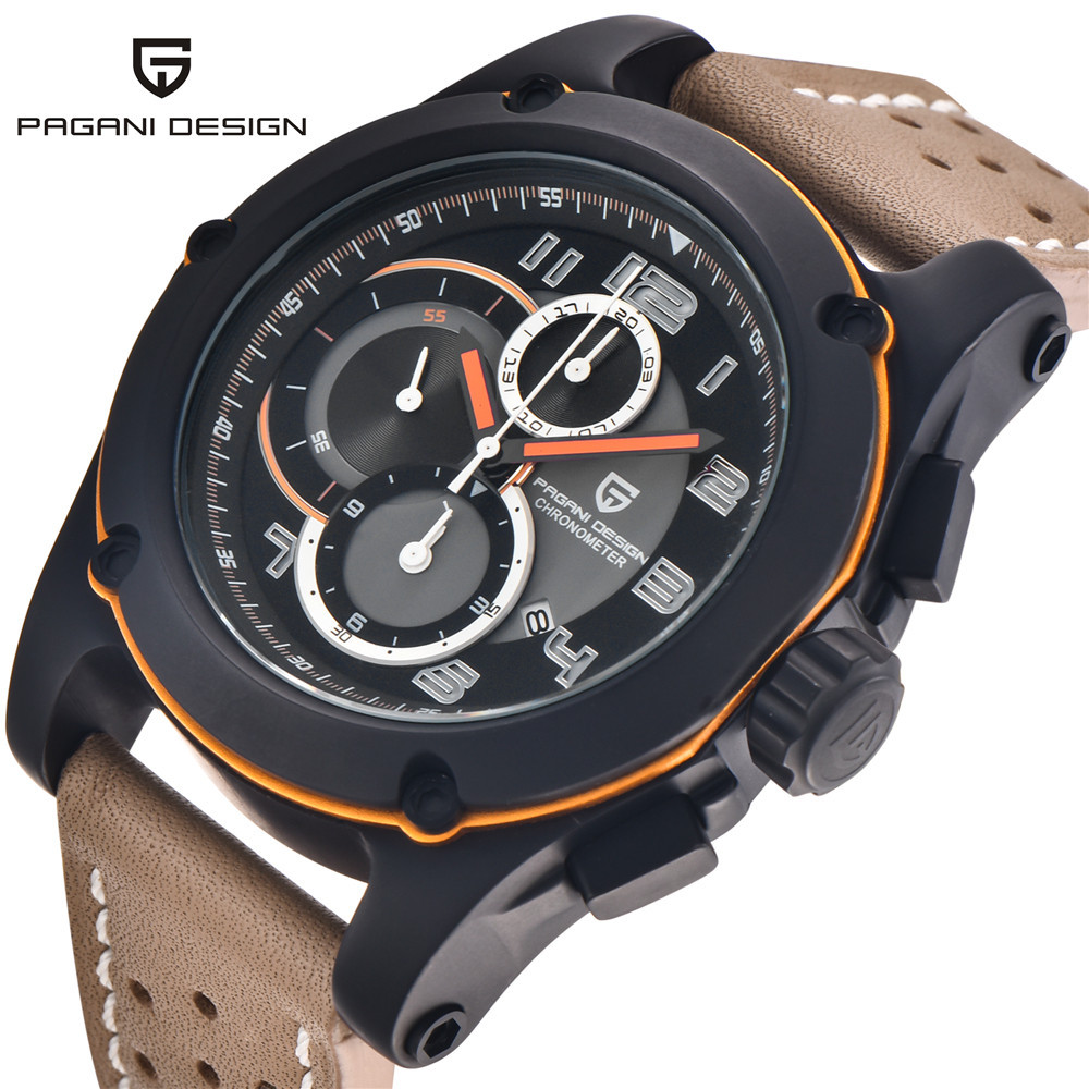 Pagani Design Genuine Leather Men Watches Analog Quartz Multi-functional Sport Watch Luxury Brand Wristwatches Relogio Masculino sunward relogio masculino saat clock women men retro design leather band analog alloy quartz wrist watches horloge2017