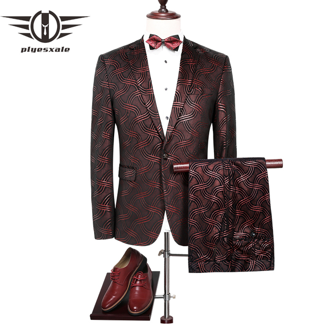 cba19b8f1e72 Plyesxale Costume Hommes 2018 Slim Fit Vin Rouge Mens Paillettes Costumes  Costume de mariage Pour Hommes