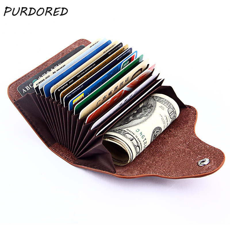 PURDORED 1 Pc Men Card Holder Genuine Leather Business Card Holder Wallet Women Credit Card Case Tarjetero Mujer Dropshipping