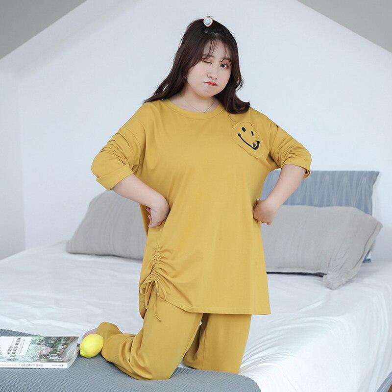 2019 grande taille 2 pièces automne pyjamas ensembles femmes Smiley visage pyjamas vêtements de nuit à manches longues vêtements de nuit respirant Robe Homewear