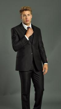 Top Selling Side Vent Black Groom Tuxedos Notch Lapel Groomsmen Best Man Wedding Prom Suits (Jacket+Pants+Vest+Tie)