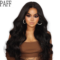 PAFF Remy Hair Glueless Lace Front Wig Peruvian Body Wave Human Hair Wig 180% Density Middle Part With bleached knots For Black