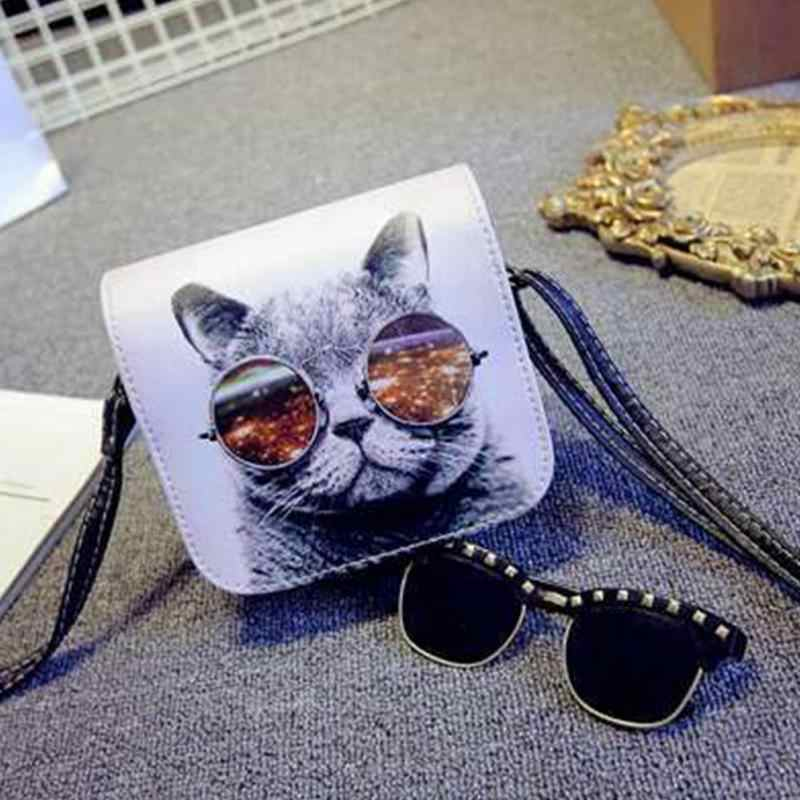 2632f959bd Bolsa Bolsos Carteras Mujer Marca Women PU Leather Cat Wearing Big Glasses  Print Shoulder Handbags 2018