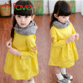 High Quality Girls Long Sleeve Dress 2015 Beautiful Fashion Autumn Dress For Baby Girls Yellow Color Girls Autumn Clothes