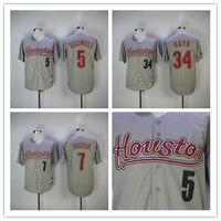 Hombres Houston 34 Nolan Ryan Jersey 5 Jeff bagwell 7 Craig biggio béisbol jersey de m & n