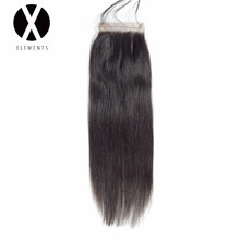 X-Elements 4 * 4 Lace Closure Brazilian Hair Weaves Human Straight Non-Remy Hair Extensions Natural Color