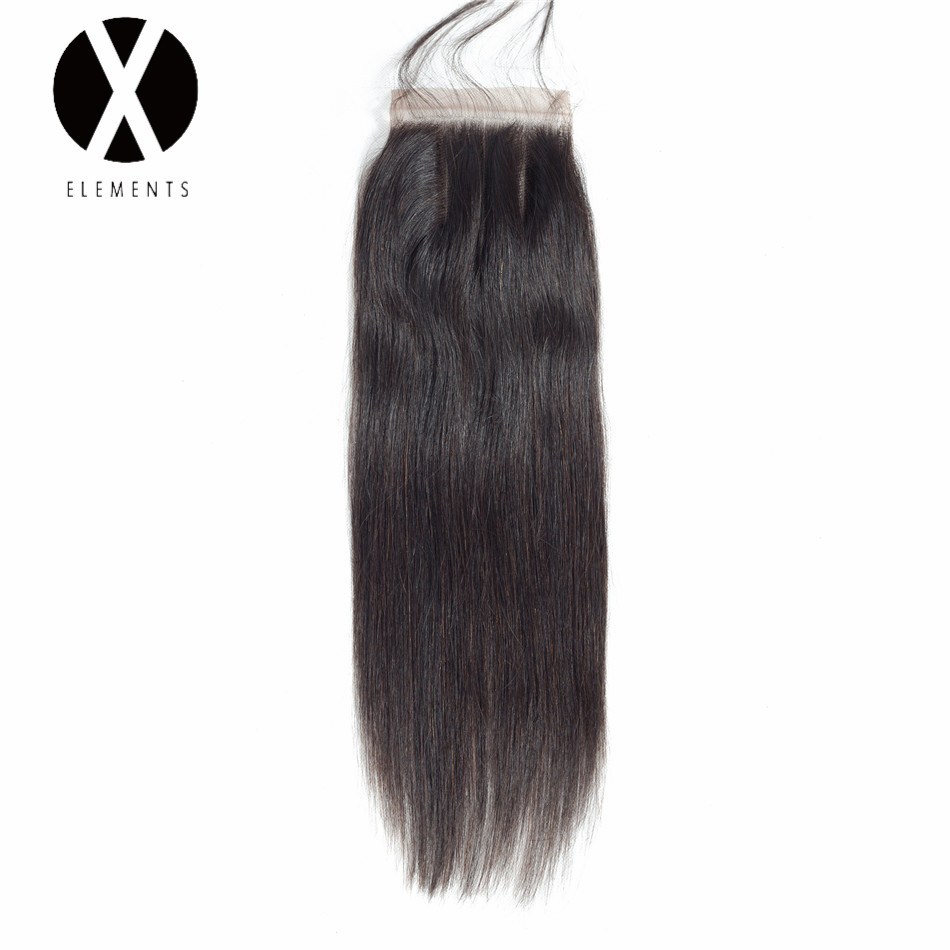 X-Elements 4*4 Lace Closure Brazilian Hair Weaves Human Straight Non-Remy Hair Extensions Natural Color