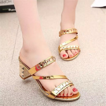 Women Summer Fashion Rhinestone Slipper Hollow Out Chunky High Heels Sandals Crystal Party Shoes Woman Square heel Flip Flops 2017 high quality african style woman shoes and bag set summer rhinestone slipper shoes and bag set for christmas party bch 15