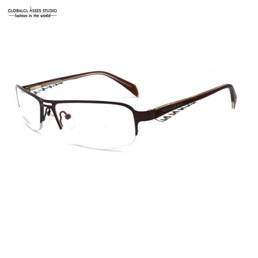 Latest Fashion Brand Design Ultra Light Half Rim Metal Glasses Frame Men Bronze Frame Stripe Leg Business Eyeglasses M3058-COL41