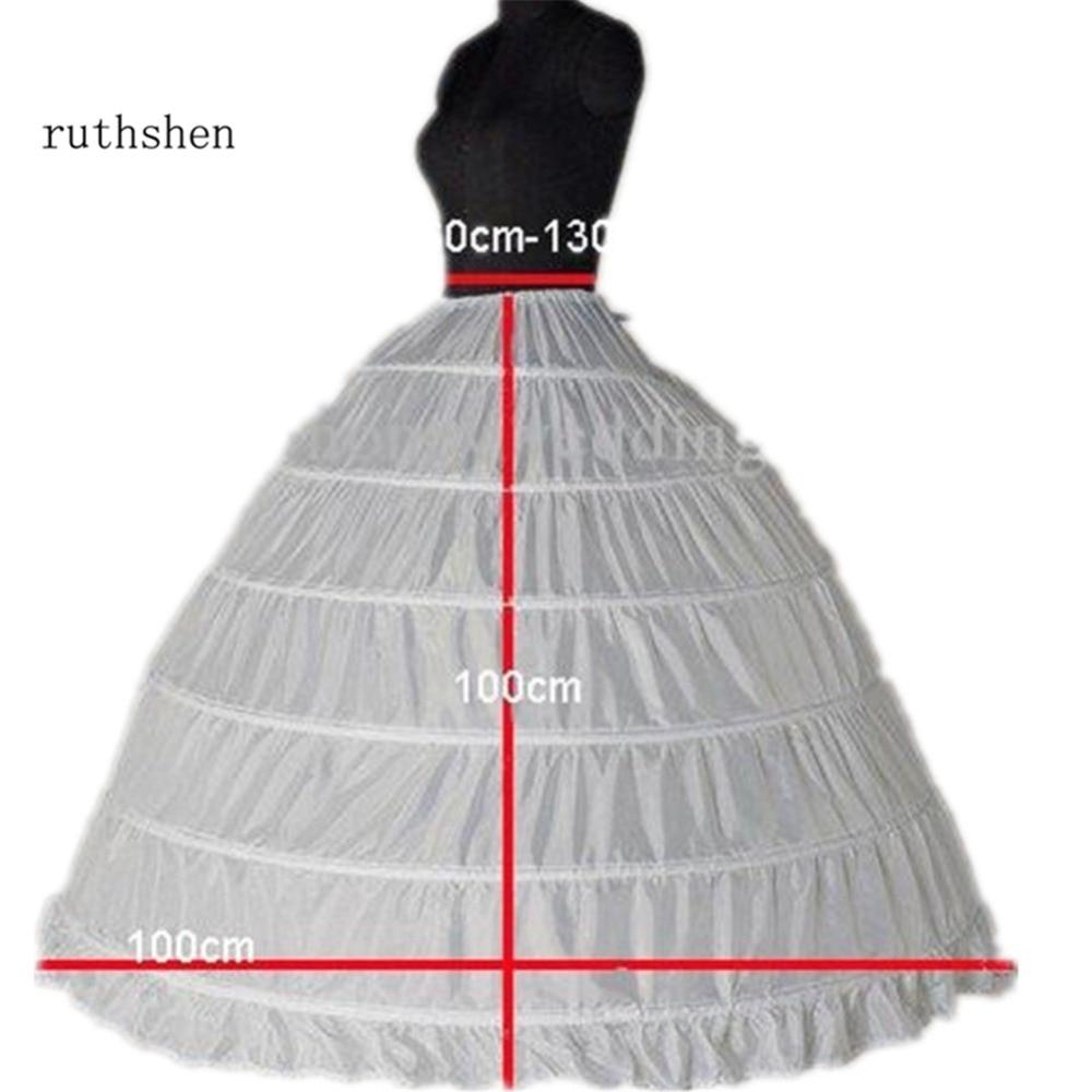 ruthshen Best Selling 6 Hoop Petticoats For Ball Gown Dresses Elastic Waist  Crinoline For Women In Stock Cheap Underskirt