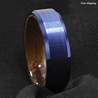 8mm Azul Cepillado De Tungsteno Del Embutido de Madera de Sándalo Rojo de La Boda Anillo de la Venda hombres Joyería Envío Gratis
