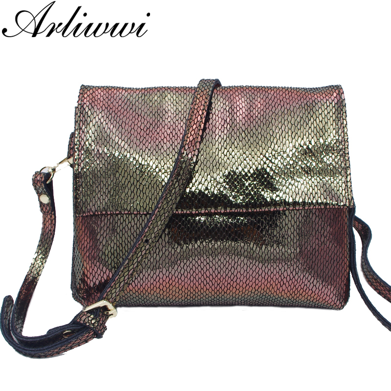 Arliwwi Brand Luxury GENUINE LEATHER Shiny Serpentine Gold silver Rainbow Colors