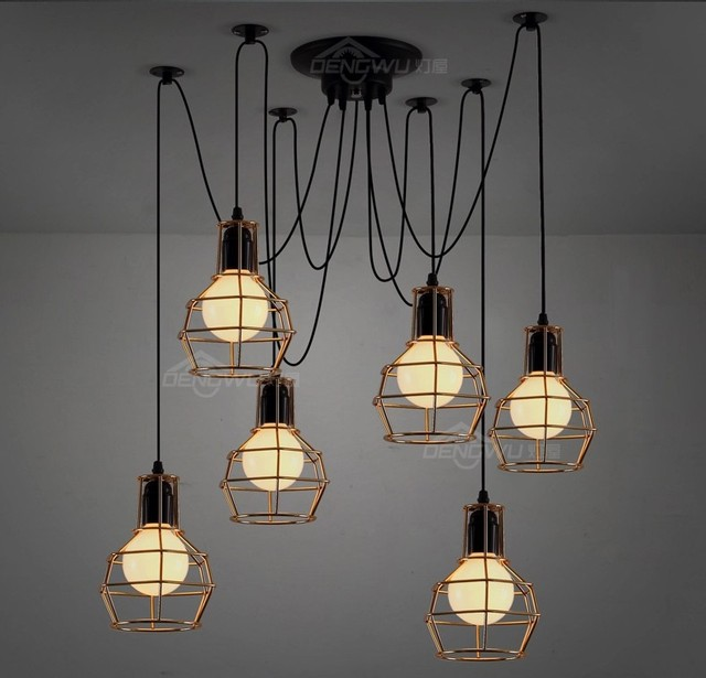 Edison Retro Spider Chandelier Lighting Ceiling Pendant ...