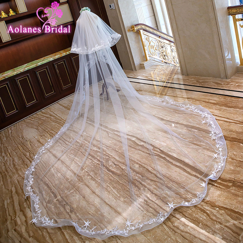 2018 New Ivory 3M Wide 3.5M Long Two-layer Bridal Veils Star Appliques Cathedral Wedding Veil With Comb Spring Edge Veu De Noiva