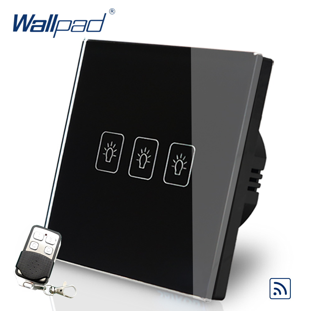 Black 3 Gang 1 Way Remote Control Touch Switch Crystal Glass Switch Wallpad Luxury EU Standard Switch With Remote Controller white 3 gang remote control light switch crystal glass screen switch wallpad luxury us au led touch switch with remote control