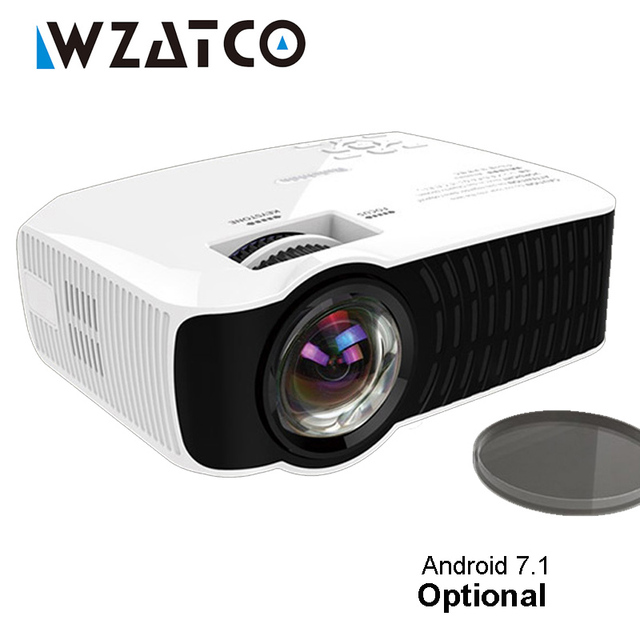 New Price WZATCO C23K MINI Projector 2600 Lumens Optional Android 7.1 Portable Video LCD HD Beamer HDMI VGA USB Home Theater Proyector