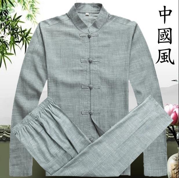 Printemps atumn 2019 chemise en lin à manches longues hommes vêtements ethniques vêtements d'extérieur mode chemises décontractées hommes chemise en lin + pantalon S-3XL