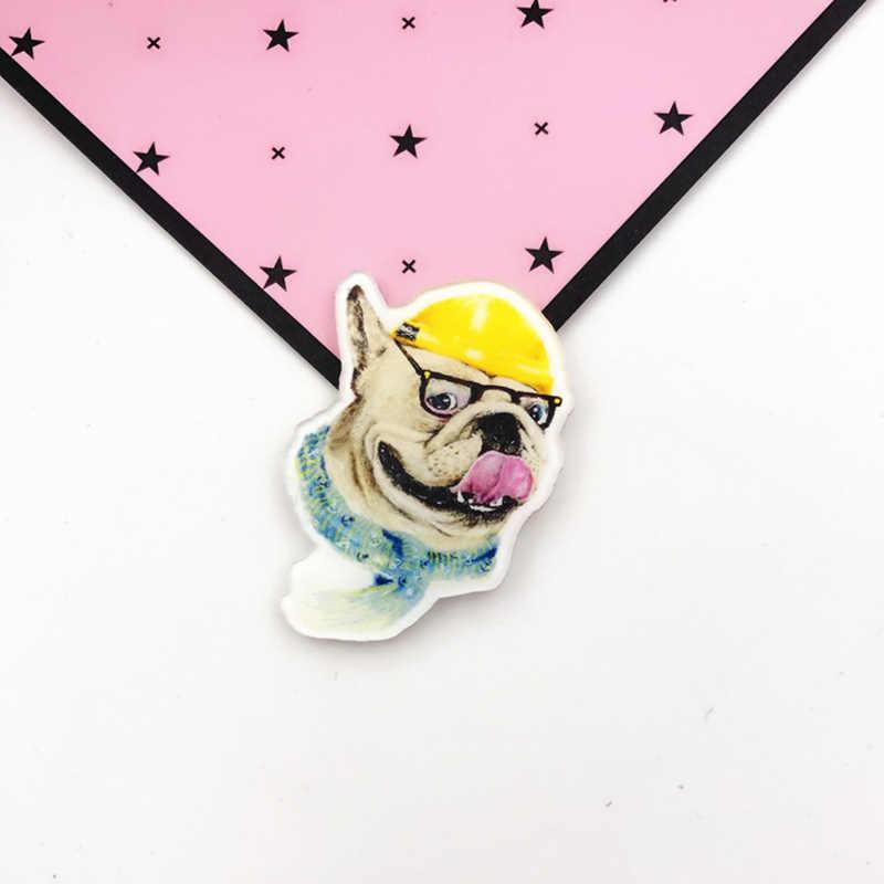 Hot Sale Bros Populer Harajuku Cat Kawaii Acrylic 1PC Anjing Kartun untuk Ransel Lencana Hewan Lucu Pakaian Pin untuk wanita