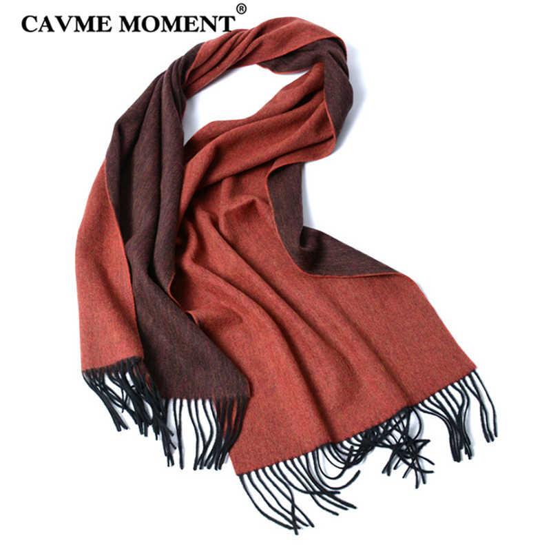 CAVME 冬の純粋なウールのスカーフ男性のスカーフとボックスダストバッグサイズ愛好家の女性ロング基本スカーフショールラップタッセル 40*180 センチメートル